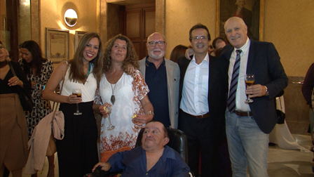 El actor Pepe Ruiz con otras invitadas junto a José Manuel Dolader, Paco Ruiz y Antonio Castilla.