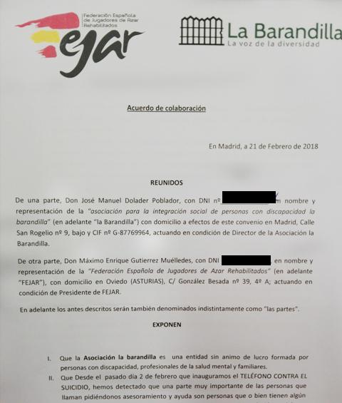 Convenio de colaboración entre FEJAR y la Asociación La Barandilla