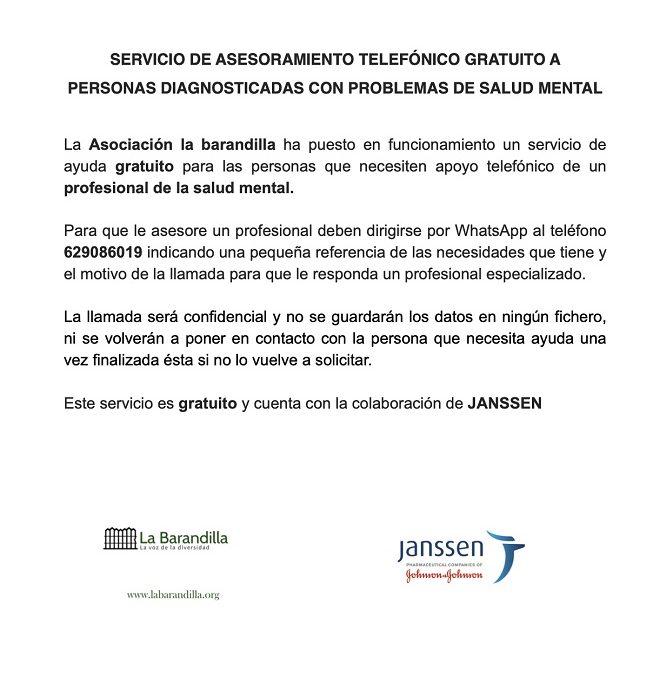 SERVICIO DE ASESORAMIENTO TELEFÓNICO GRATUITO A PERSONAS DIAGNOSTICADAS CON PROBLEMAS DE SALUD MENTAL
