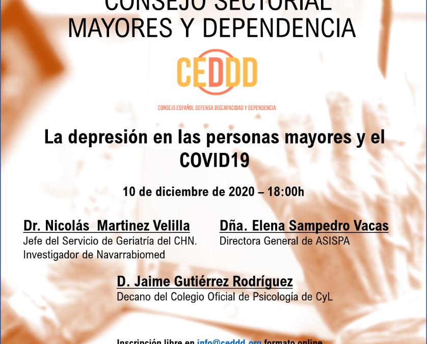 """Nueva Jornada del Consejo Sectorial CEDDD de Mayores y Dependencia """"La depresión en las personas mayores y COVID19"""""""